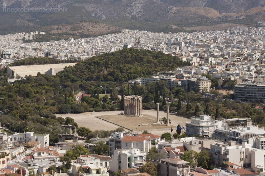 View of the Temple of Olympian Zeus from  Acropolis, Athens, Greece