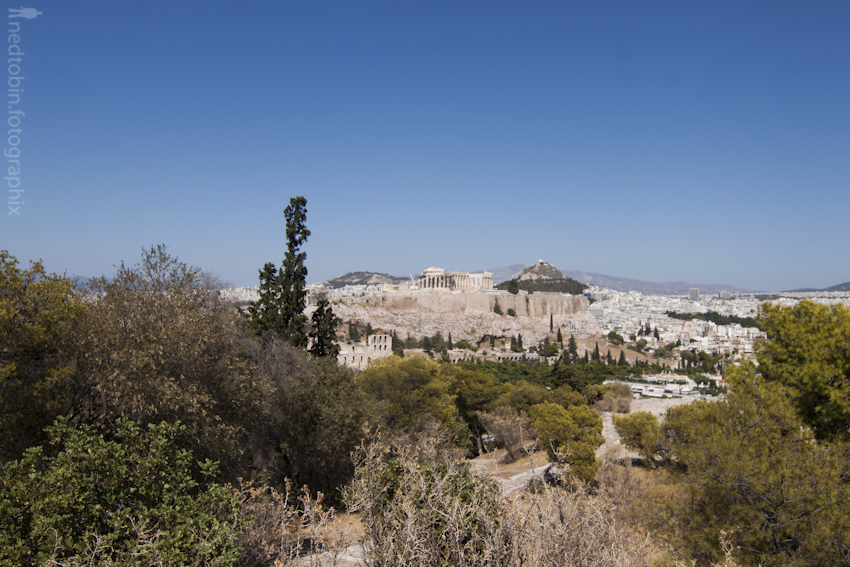 View of  Acropolis, Athens, Greece from the Hill of the Muses